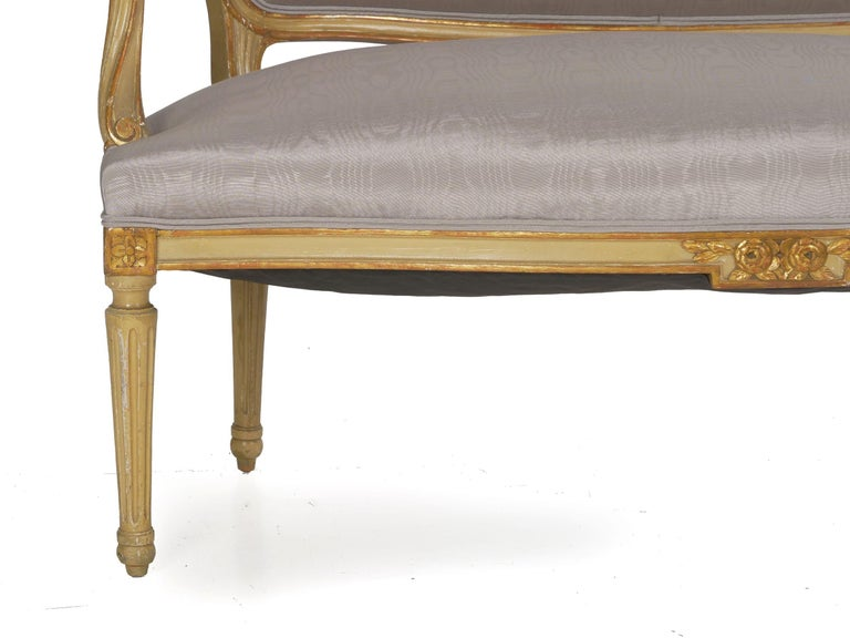 19th Century Antique French Louis XVI Style Carved Painted Settee Sofa For Sale 5
