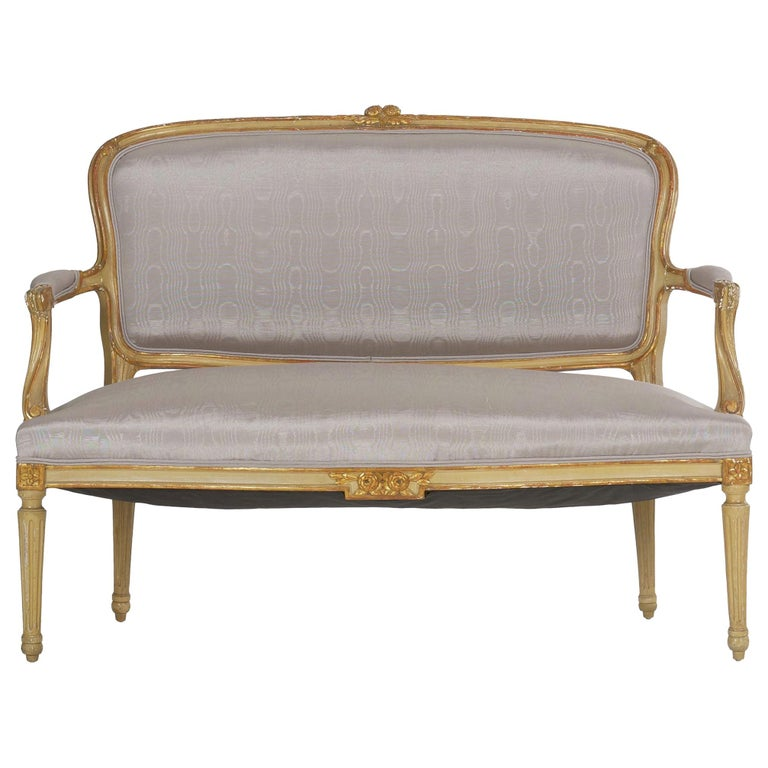 19th Century Antique French Louis XVI Style Carved Painted Settee Sofa For Sale