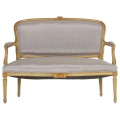 19th Century Antique French Louis XVI Style Carved Painted Settee Sofa