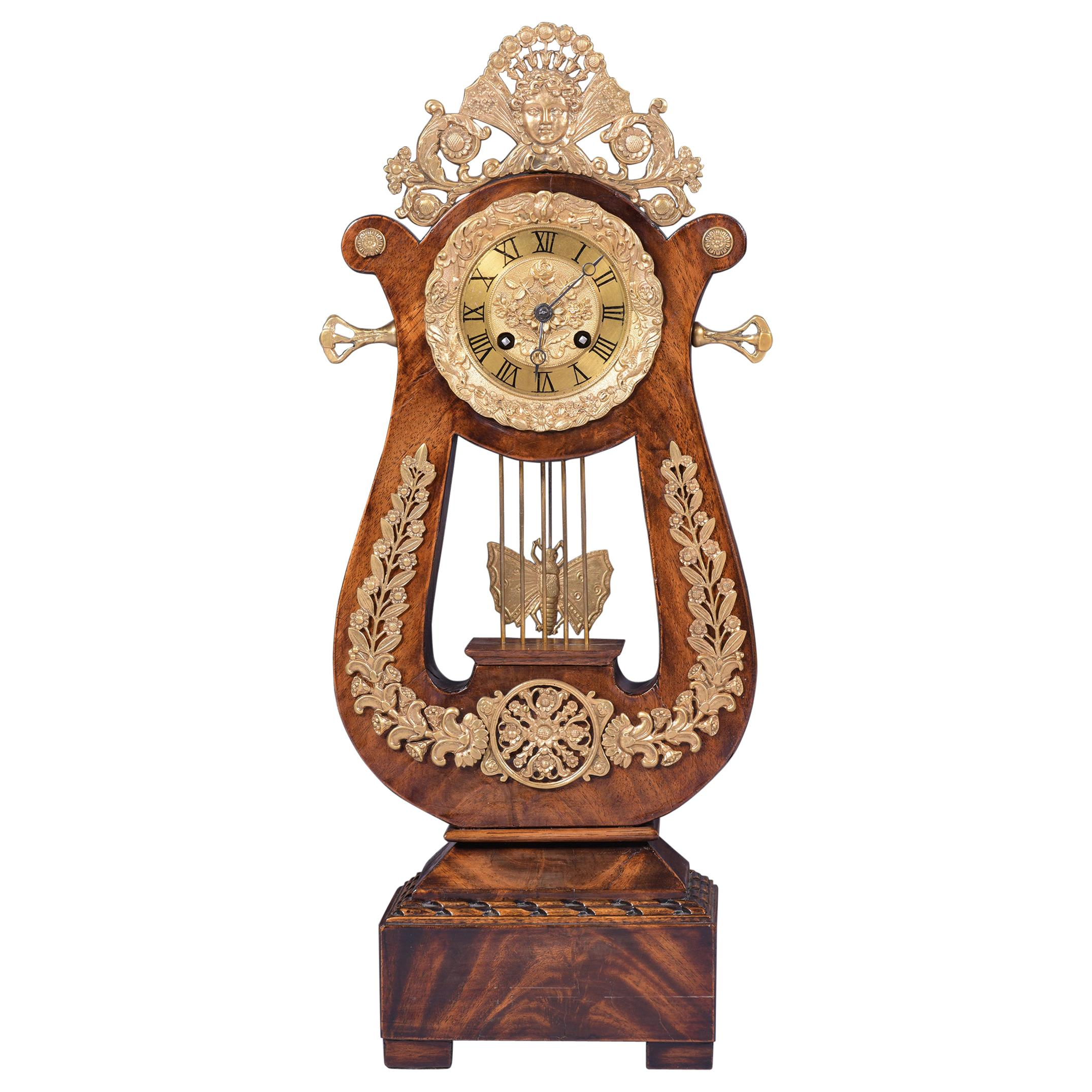 19th Century Antique French Lyre Mantle Clock By Ponds Of Paris