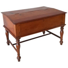 19th Century Antique French Mahogany Wooden Childrens Lift Top Writing Desk