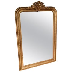 19th Century Antique French Mirror with Crown