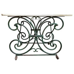 19th Century Antique French Pastry Baker's Table Iron Marble Art Nouveau Green