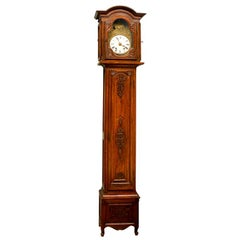 19th Century Antique French Walnut Long Case Clock