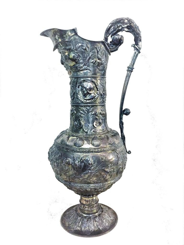 Antique German Neo-Baroque Silver Wine Jug, 19th Century For Sale 7