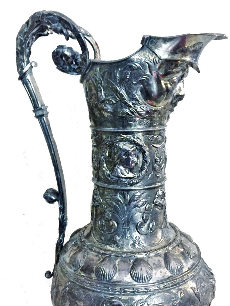 Hand-Crafted Antique German Neo-Baroque Silver Wine Jug, 19th Century For Sale