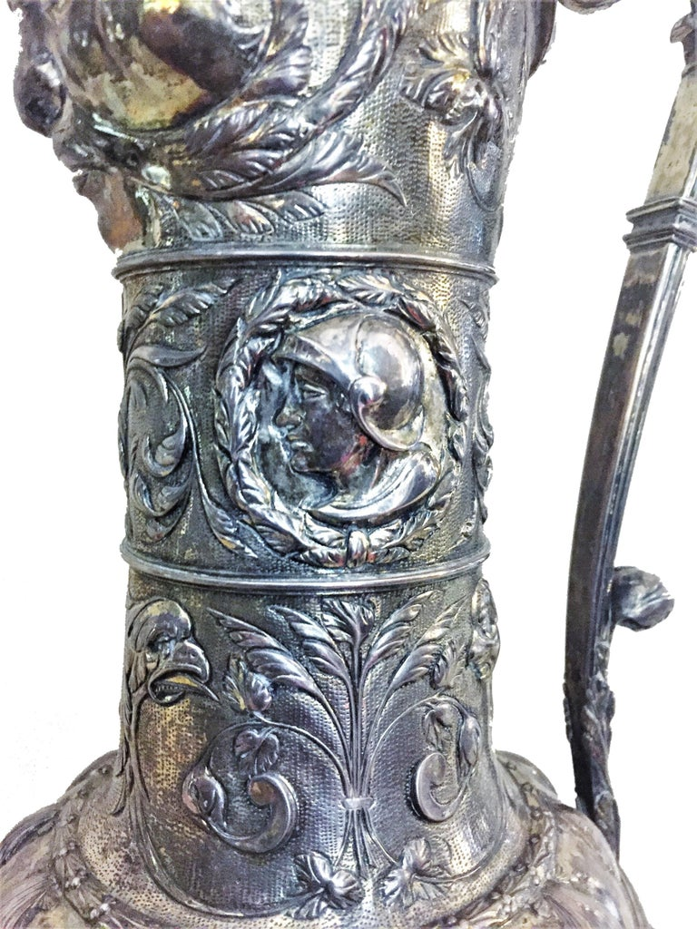 Antique German Neo-Baroque Silver Wine Jug, 19th Century In Good Condition For Sale In New York, NY