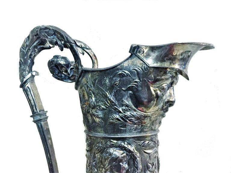 Late 19th Century Antique German Neo-Baroque Silver Wine Jug, 19th Century For Sale