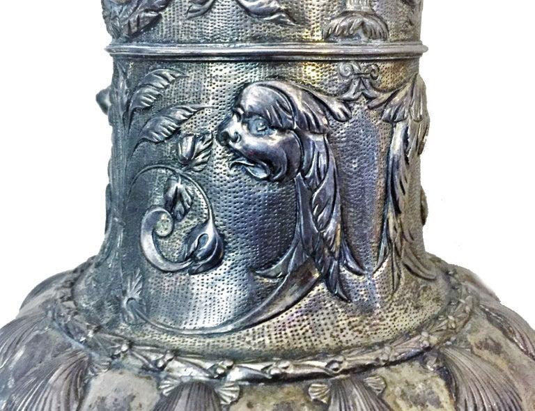 Antique German Neo-Baroque Silver Wine Jug, 19th Century For Sale 4