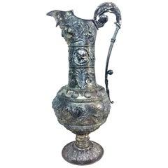 Antique German Neo-Baroque Silver Wine Jug, 19th Century