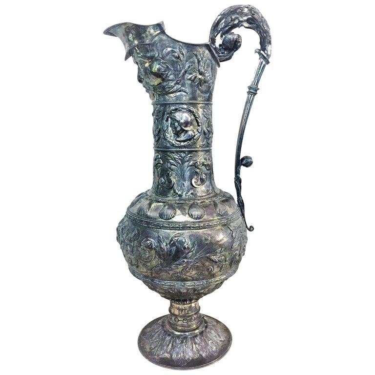Antique German Neo-Baroque Silver Wine Jug, 19th Century For Sale