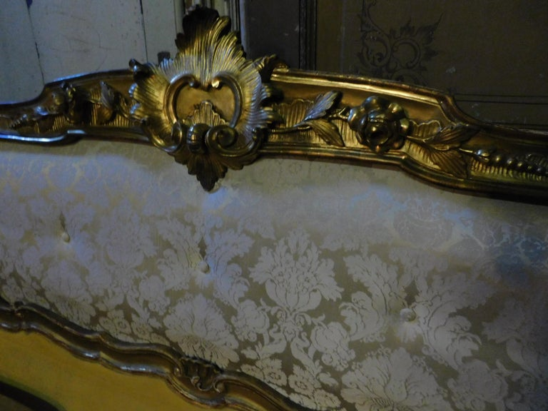 Late 19th Century 19th Century Antique Golden Bed with Damask Lined Headboard For Sale