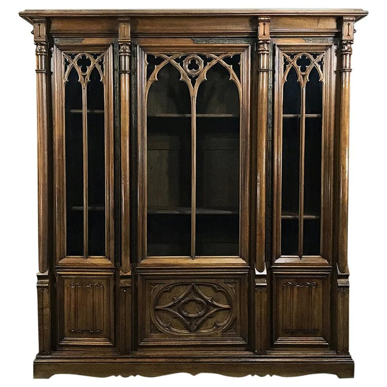 19th Century Antique Gothic French Walnut Triple Bookcase