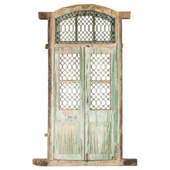 19th Century Antique Indian Grate Window with Green Paint and Distressed Patina