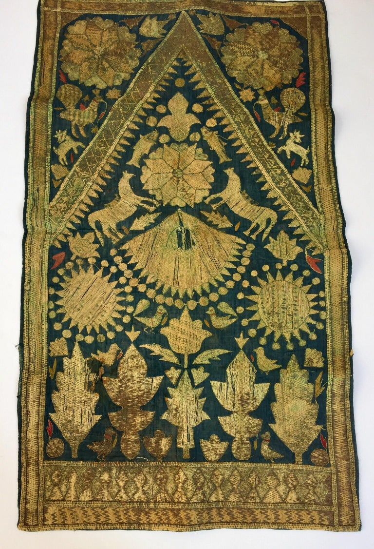 Early 19th century antique Islamic Ottoman Empire metallic threads embroidered silk textile. Antique Oriental Byzantine textile depicting embroidered flowers depicting branches filled-in with silk floss threads creating an intricate embroidered