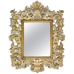 19th Century Italian Carved Enameled Giltwood Baroque Mirror, circa 1890