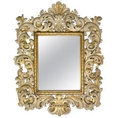 19th Century Antique Italian Carved Enameled Giltwood Baroque Mirror, circa 1890