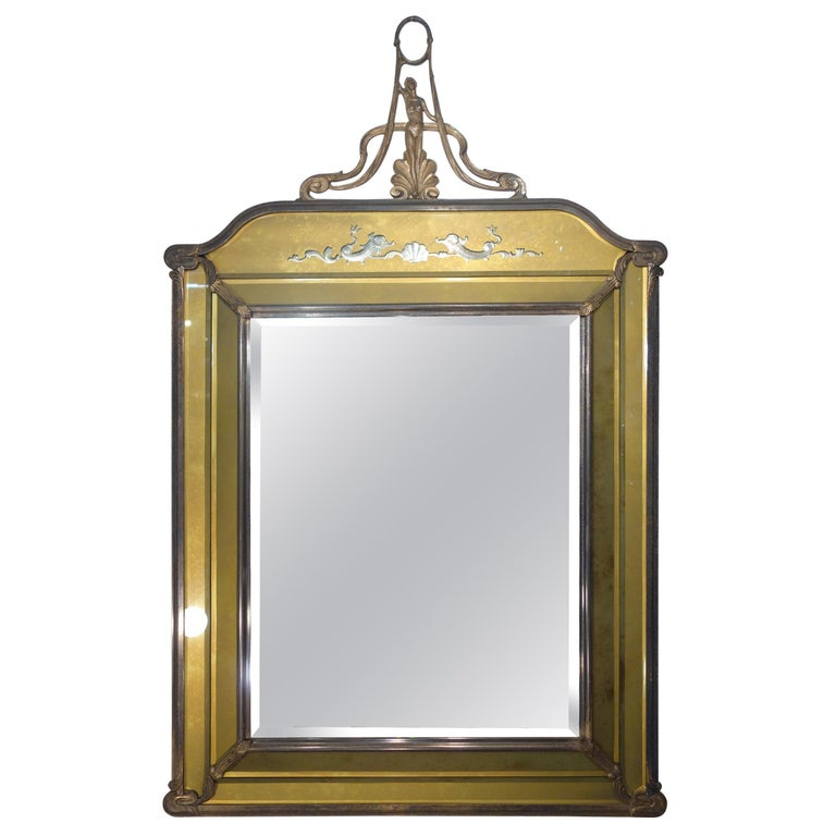 19th Century Italian Liberty Style Metal and Glass Facet Mirror Circa 1890 For Sale