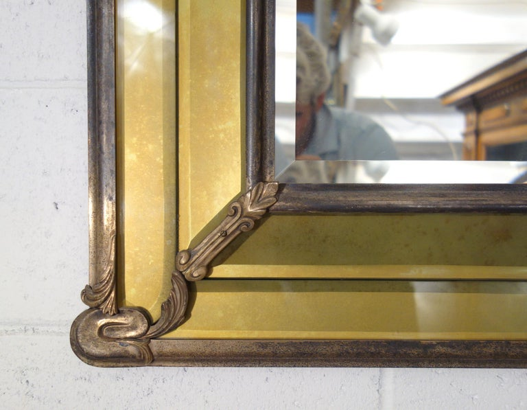 19th Century Italian Liberty Style Metal and Glass Facet Mirror Circa 1890 For Sale 4