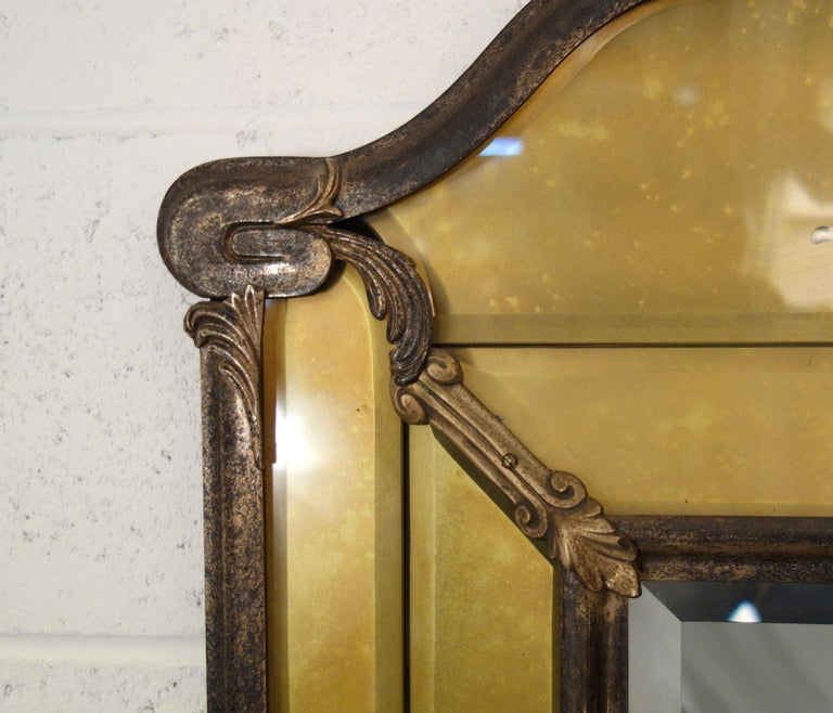19th Century Italian Liberty Style Metal and Glass Facet Mirror Circa 1890 For Sale 1