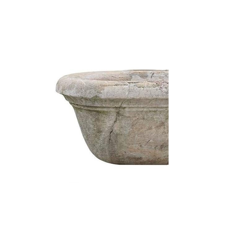Hand-Carved 19th Century Antique Italian Marble Tub or Basin For Sale