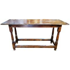 19th Century Antique Italian Oak Plank Rustic Tuscan Farmhouse Table Circa 1860