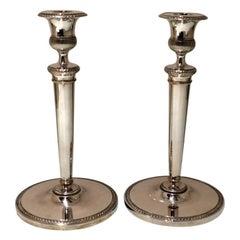 19th Century Antique Italian Pair Silver Candlesticks Milan circa 1820 E Brusa