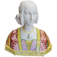 19th Century Antique Italian Renaissance Style Majolica Painted Bust