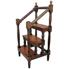 19th Century Antique Italian Wood and Leather Step Library Ladder