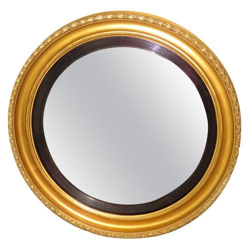 19th Century Antique Large Giltwood Convex Mirror