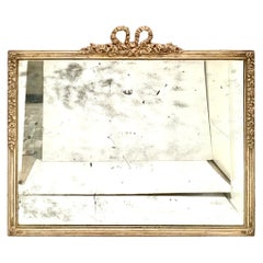 19th Century Antique Louis XVI Style Silver Leaf Wood Frame Wall Mirror