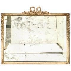 19th Century Antique Louis XVI Style Silver Leaf Wood Frame Wall Mirror