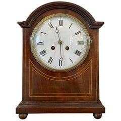 19th Century Antique Mahogany Inlaid Eight Day Mantel Clock