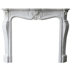 19th Century Antique Mantel of Carrara Marble Mantel, Louis XV
