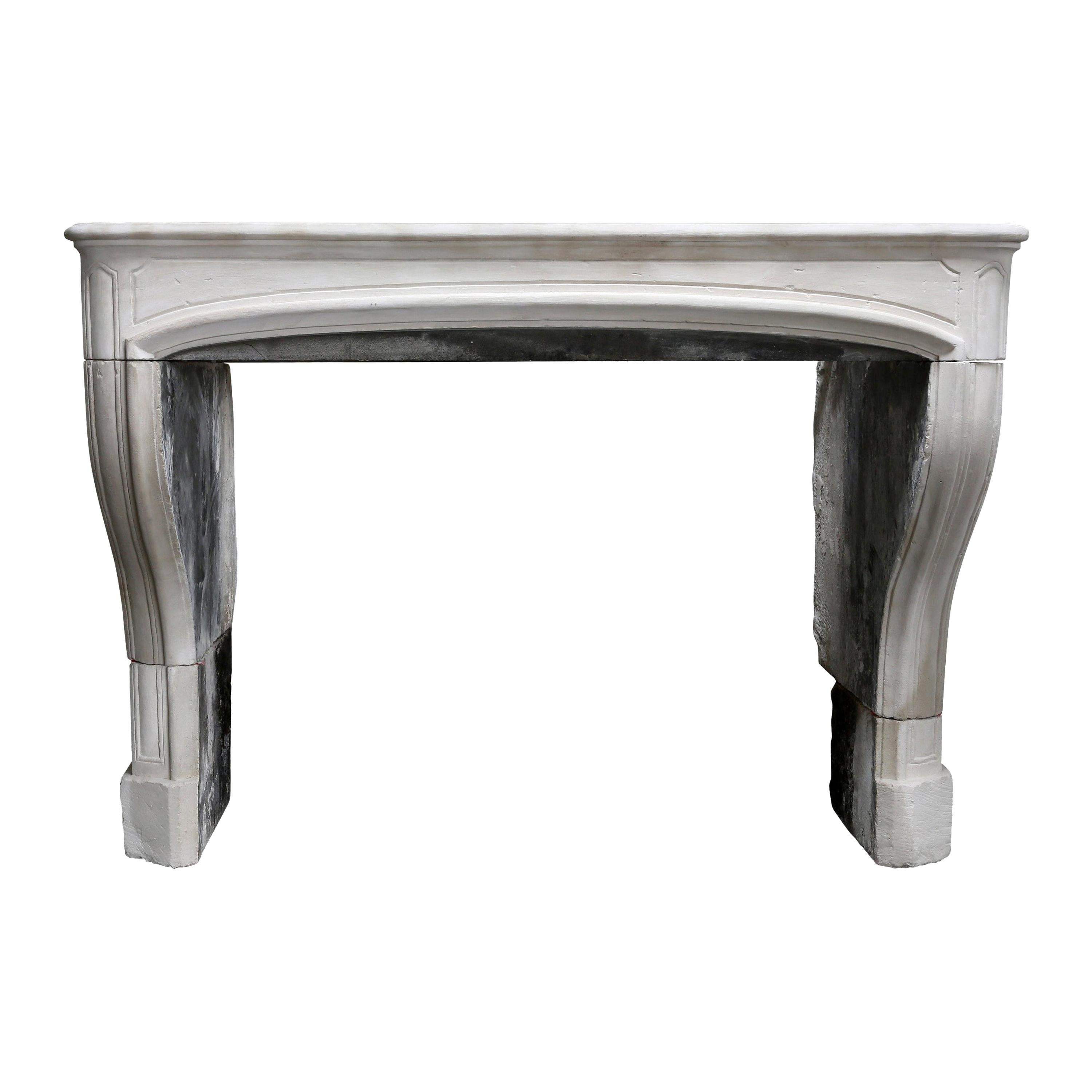 19th Century Antique Mantelpiece of Limestone in Style of Louis XIV