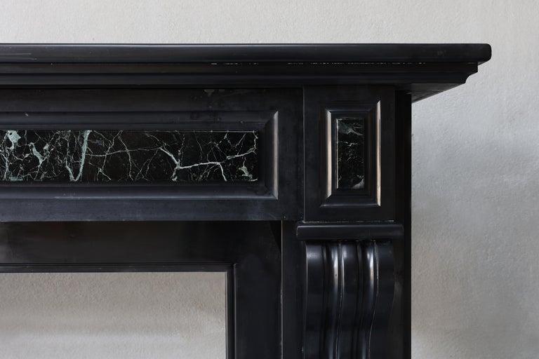 Louis XVI 19th Century Antique Marble Fireplace of Noir De Mazy with Verde Marble For Sale
