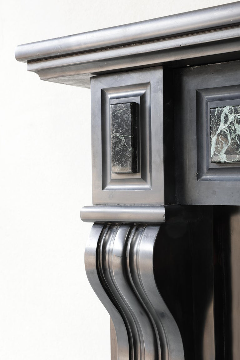 19th Century Antique Marble Fireplace of Noir De Mazy with Verde Marble For Sale 1