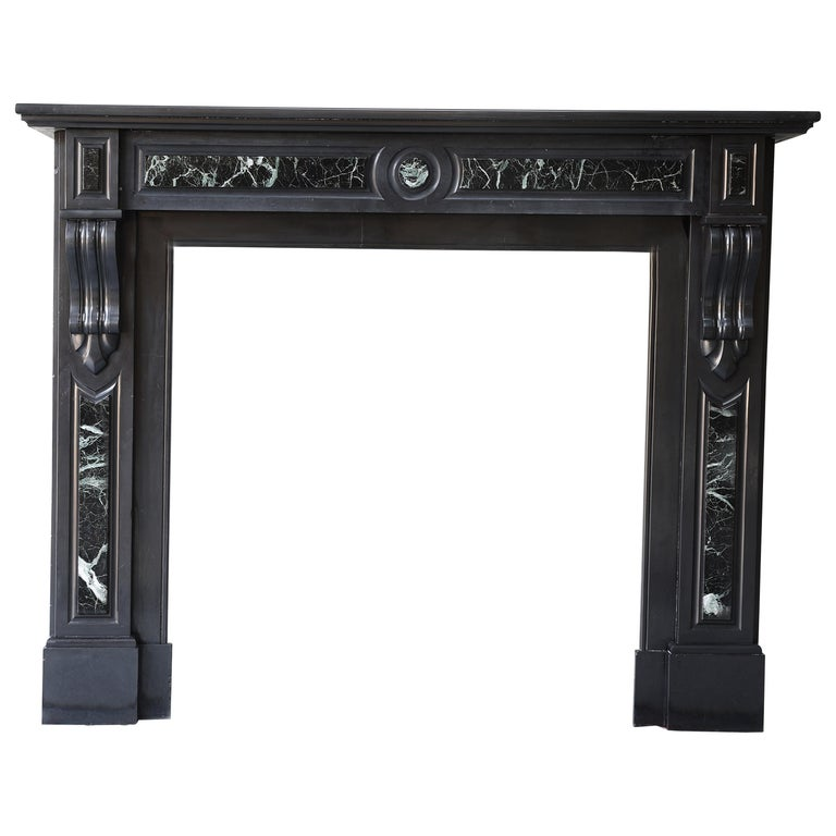 19th Century Antique Marble Fireplace of Noir De Mazy with Verde Marble For Sale