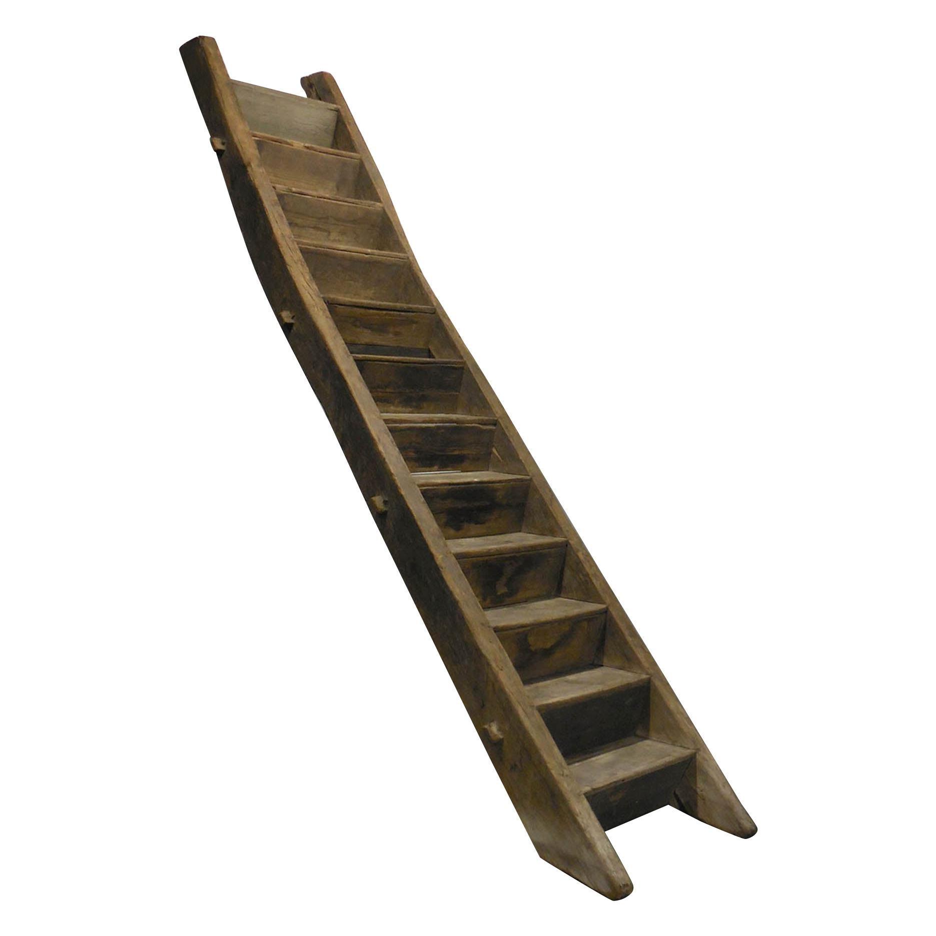 19th Century Antique Massive Elmwood Loft Ladder or Stairs