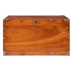 19th Century Antique Military Camphorwood Campaign Chest