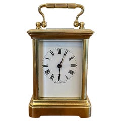 19th Century Antique Miniature Brass 8 Day Carriage Clock with Travelling Case