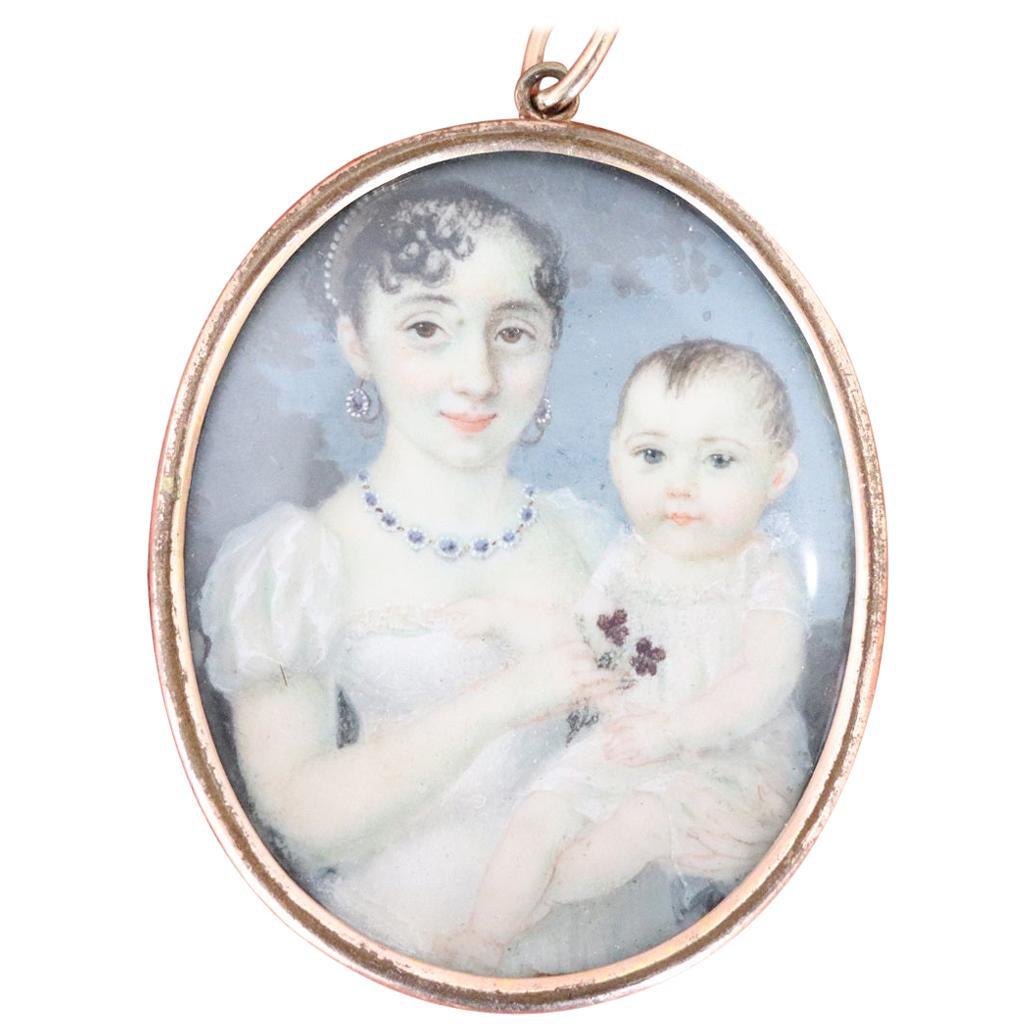 19th Century Antique Miniature Painted, Portrait of Children