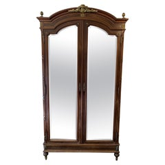 19th Century Antique Mirror Front French Armoire
