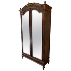 19th Century, Antique Mirror Front French Armoire