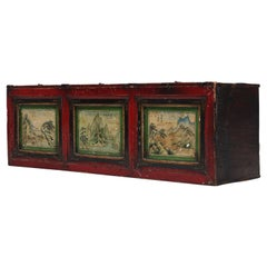 19th Century Antique Mongolian Hand Painted Nomads Chest, 1850