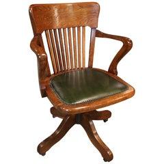 19th Century Antique Oak Office Chair