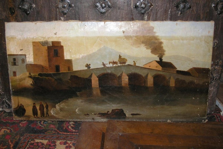 19th century oil painting on canvas, depicting landscape with deck and house with smoking chimney,