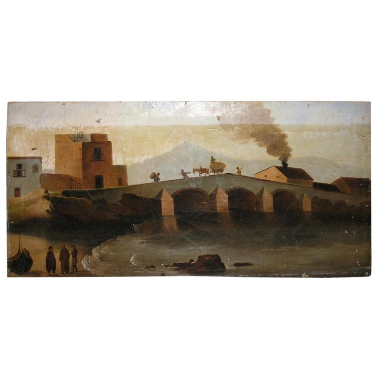 19th Century Antique Oil Painting on Canvas For Sale
