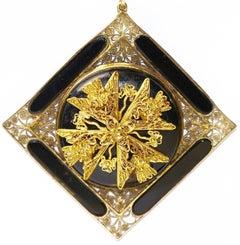 19th Century Antique Onyx Pendant, Enhancer 14k Gold with Floral Gold Appliqués