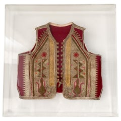 19th Century Antique Ottoman Embroidered Vest Framed in a Lucite Box